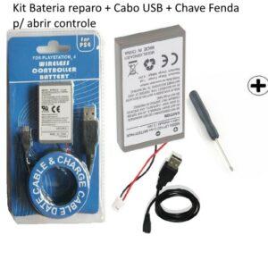 Kit Bateria Controle Ps4 + Cabo Usb 2000mah + Chave Fenda