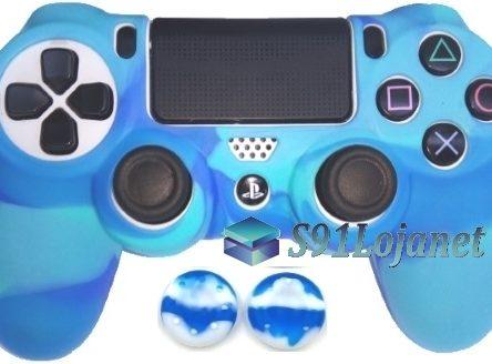 Capa Case Playstation 4 Camo Elite Azul + Grip Camo