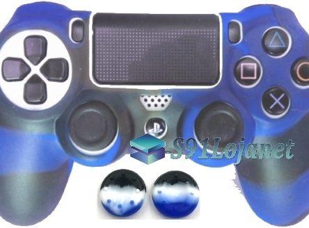 Capa Case Playstation 4 Camo Elite Azul Preto + Grip Camo