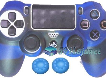 Capa Case Playstation 4 Camo Elite Azul Preto + Grip Cores