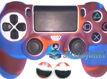 Capa Case Playstation 4 Camo Elite Azul Vermelho + Grip Camo