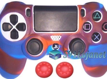 Capa Case Playstation 4 Camo Elite Azul Vermelho + Grip Cores