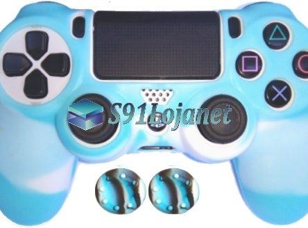 Capa Case Playstation 4 Camo Elite Branco Azul + Grip Camo