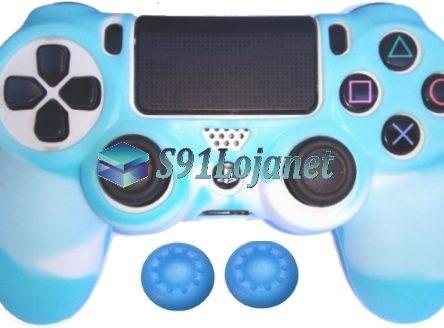 Capa Case Playstation 4 Camo Elite Branco Azul + Grip Cores
