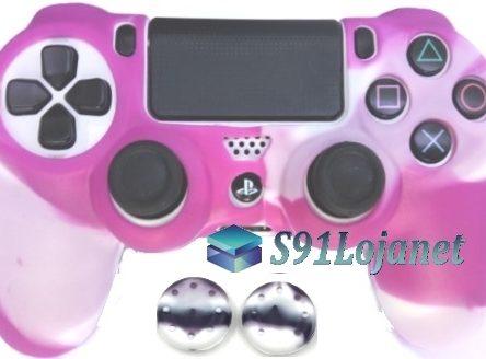 Capa Case Playstation 4 Camo Elite Branco Rosa + Grip Camo