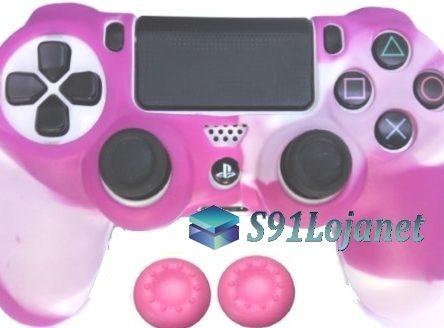 Capa Case Playstation 4 Camo Elite Branco Rosa + Grip Cores