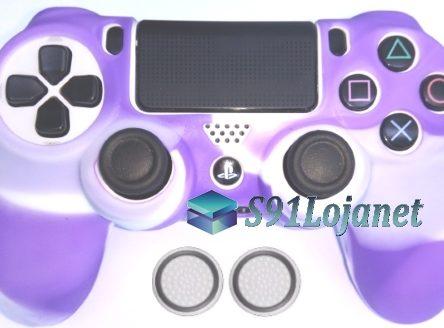 Capa Case Playstation 4 Camo Elite Branco Roxo + Grip Bola