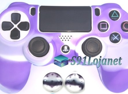 Capa Case Playstation 4 Camo Elite Branco Roxo + Grip Camo