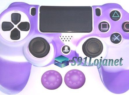 Capa Case Playstation 4 Camo Elite Branco Roxo + Grip Cores