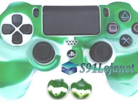 Capa Case Playstation 4 Camo Elite Branco Verde + Grip Camo