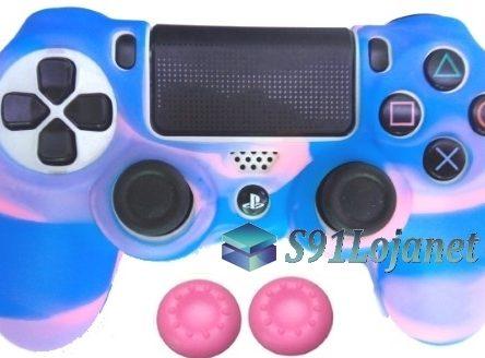 Capa Case Playstation 4 Camo Elite Rosa Azul + Grip Cores