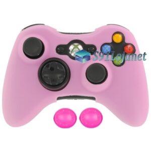 Capa Case Skin Xbox 360 Microsoft Silicone Cor Rosa + Grip