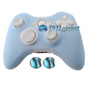Capa Case Skin Xbox 360 Silicone Color Azul Claro + Grip Camo