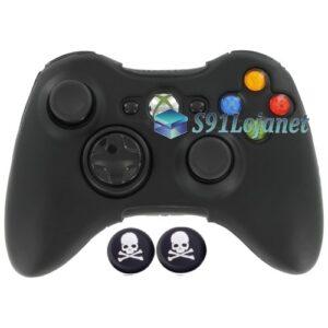 Capa Case Skin Xbox 360 Silicone Preto + Grip Skull