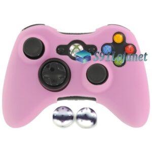 Capa Case Skin Xbox 360 Silicone Rosa + Grip Camo