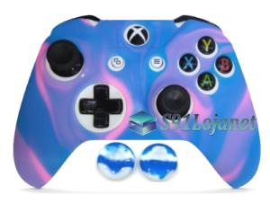 Capa Case Skin Xbox One Camo Premio Rosa Azul + Grip Camo