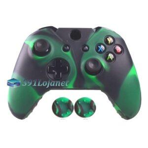 Capa Case Skin Xbox One Camo Verde Preto + Grip Camo