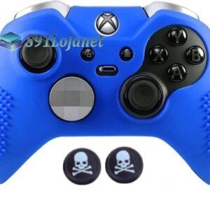 Capa Case Skin Xbox One Controle Elite Azul + Grip Skull