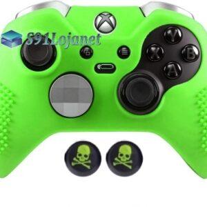 Capa Case Skin Xbox One Controle Elite Verde + Grip Skull