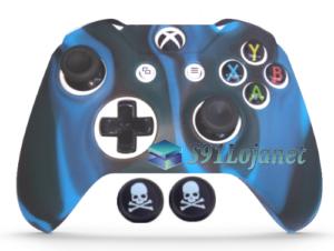 Capa Case Skin Xbox One S Camo Premio Azul + Grip Skull