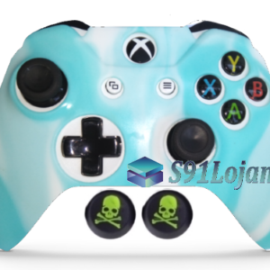 Capa Case Skin Xbox One S Camo Branco Azul + Grip Skull