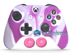 Capa Case Skin Xbox One S Premio Branco Rosa + Grip Cor