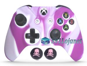 Capa Case Skin Xbox One S Camo Branco Rosa + Grip Skull
