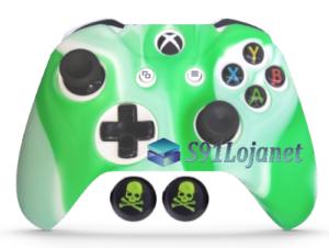 Capa Case Skin Xbox One S Camo Premio Branco Verde + Grip Skull