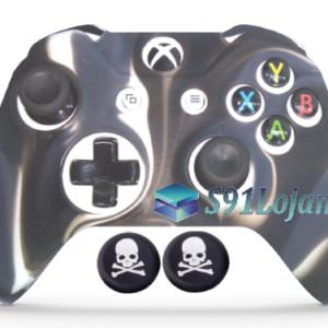 Capa Case Skin Xbox One S Camo Premio Preto + Grip Skull