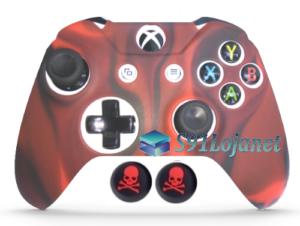 Capa Case Skin Xbox One S Camo Vermelho + Grip Skull