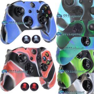 Capa Case Skin Xbox One S Camuflado Cores + Grip Skull