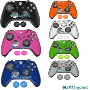 Xbox One Skin Adesivo Pele Carbon Controle Elite + Par Grips