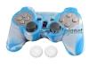 Capa Case Controle Playstation Ps2 Azul Branco + Grip Color