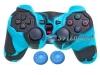 Capa Case Controle Playstation Ps2 Azul Claro Preto + Grip Color