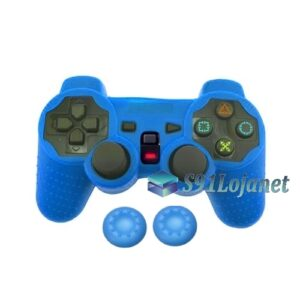 Capa Case Controle Playstation Ps2 Original Azul + Grips