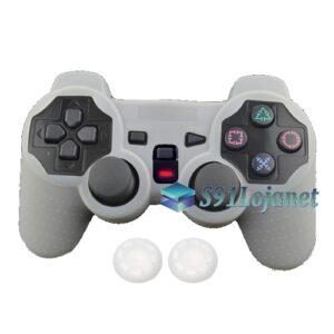 Capa Case Controle Playstation Ps2 Original Branco + Grips