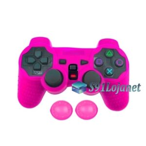 Capa Case Controle Playstation Ps2 Original Rosa +1 Par Grips