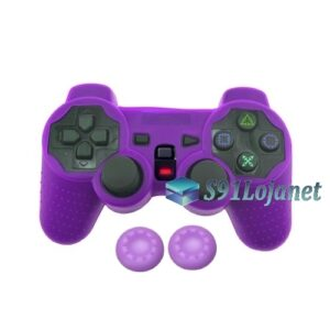 Capa Case Controle Playstation Ps2 Original Roxo + Grips