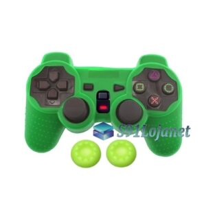 Capa Case Controle Playstation Ps2 Original Verde +1 Par Grips