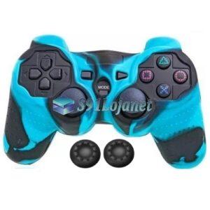 Capa Case Playstation PS3 Camo Azul Claro Preto + Grip Color