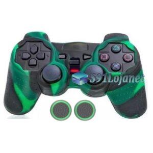 Capa Case Playstation Ps2 Camo Verde Preto + Grip Bolinha