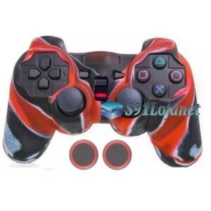 Capa Case Playstation Ps2 Camo Vermelho + Grip Bolinha