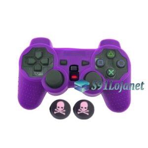 Capa Case Silicone Playstation 2 Ps2 Roxa + Grips Skull