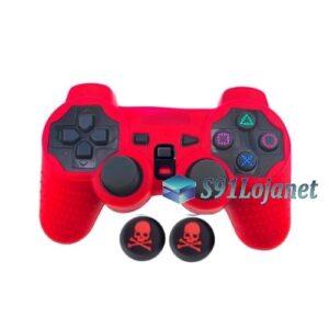 Capa Case Silicone Playstation 2 Ps2 Vermelho + Grips Skull