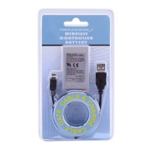 Kit Bateria P/ Controle Ps3 1800mah + Cabo Ps3 Playstation 3