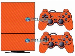 Skin Ps2 Playstation 2 Original Adesivo Carbono Laranja