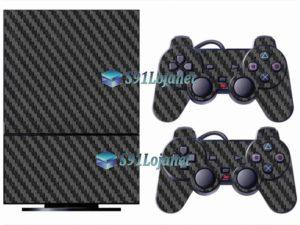 Skin Ps2 Playstation 2 Original Adesivo Vinil Carbono Preto