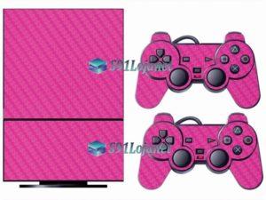 Skin Ps2 Playstation 2 Original Adesivo Vinil Carbono Rosa