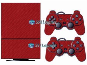 Skin Ps2 Playstation 2 Original Adesivo Carbono Vermelho