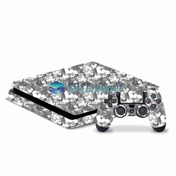 Skin Ps4 Slim Playstation 4 Slim Original Camuflado Cinza